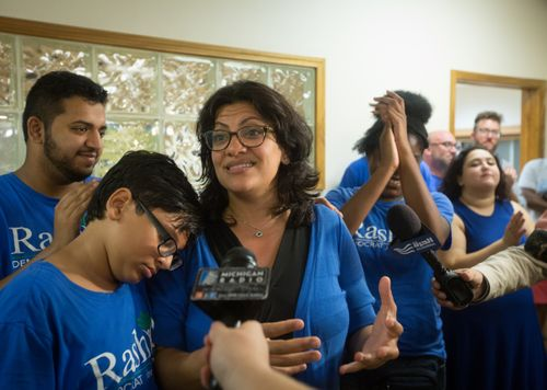 Rashida Tlaib speaks to staff, supporters and the press after the Associated Press called Tlaib's race in her favor at one of Tlaib's field offices in Northwest Detroit on Aug. 7, 2018.   (Photo: Cameron Pollack, Detroit Free Press)