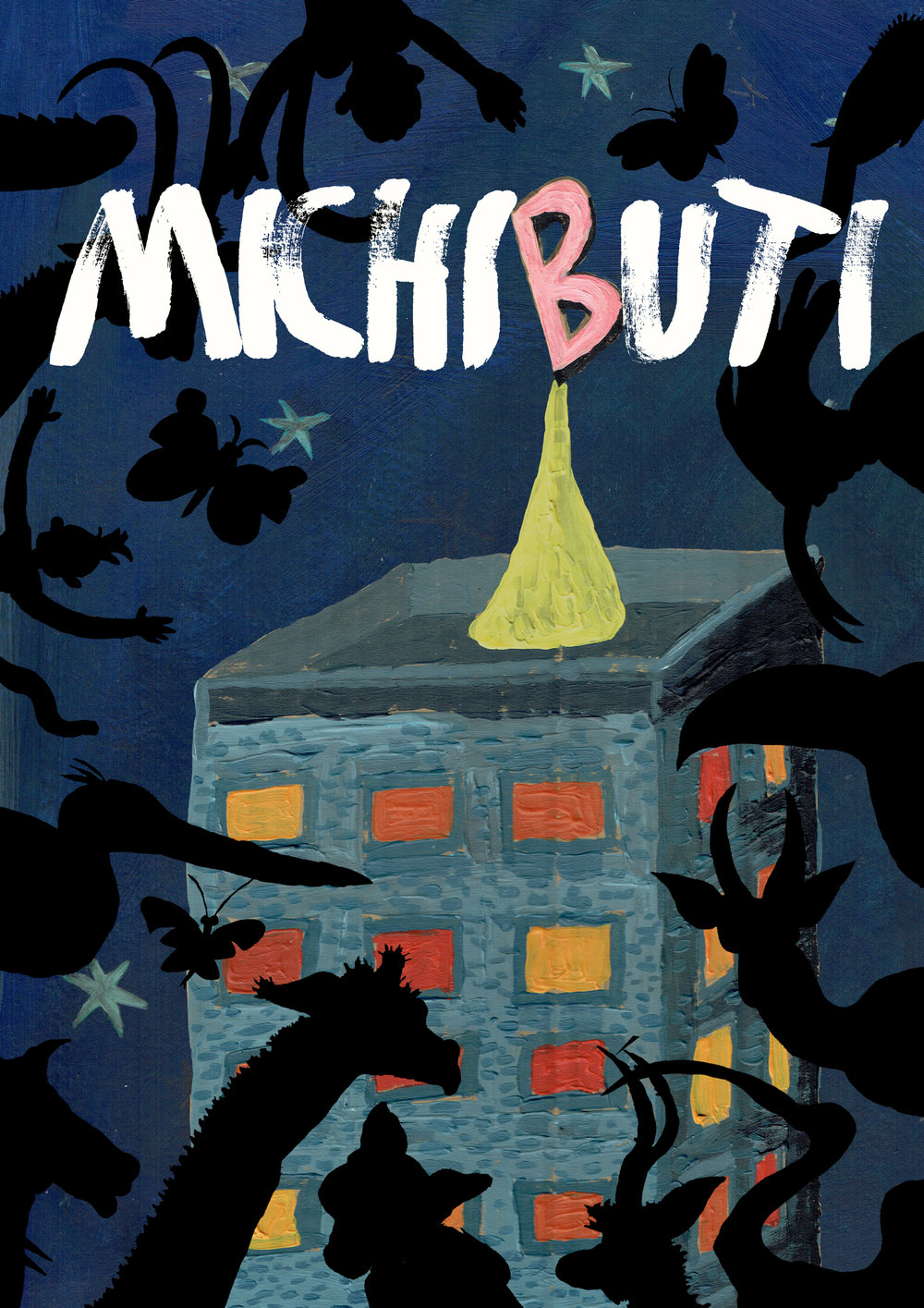 The front cover of  Michibuti  shows Blobfish Tower - that's why there's a big pink B - where Ted lives.