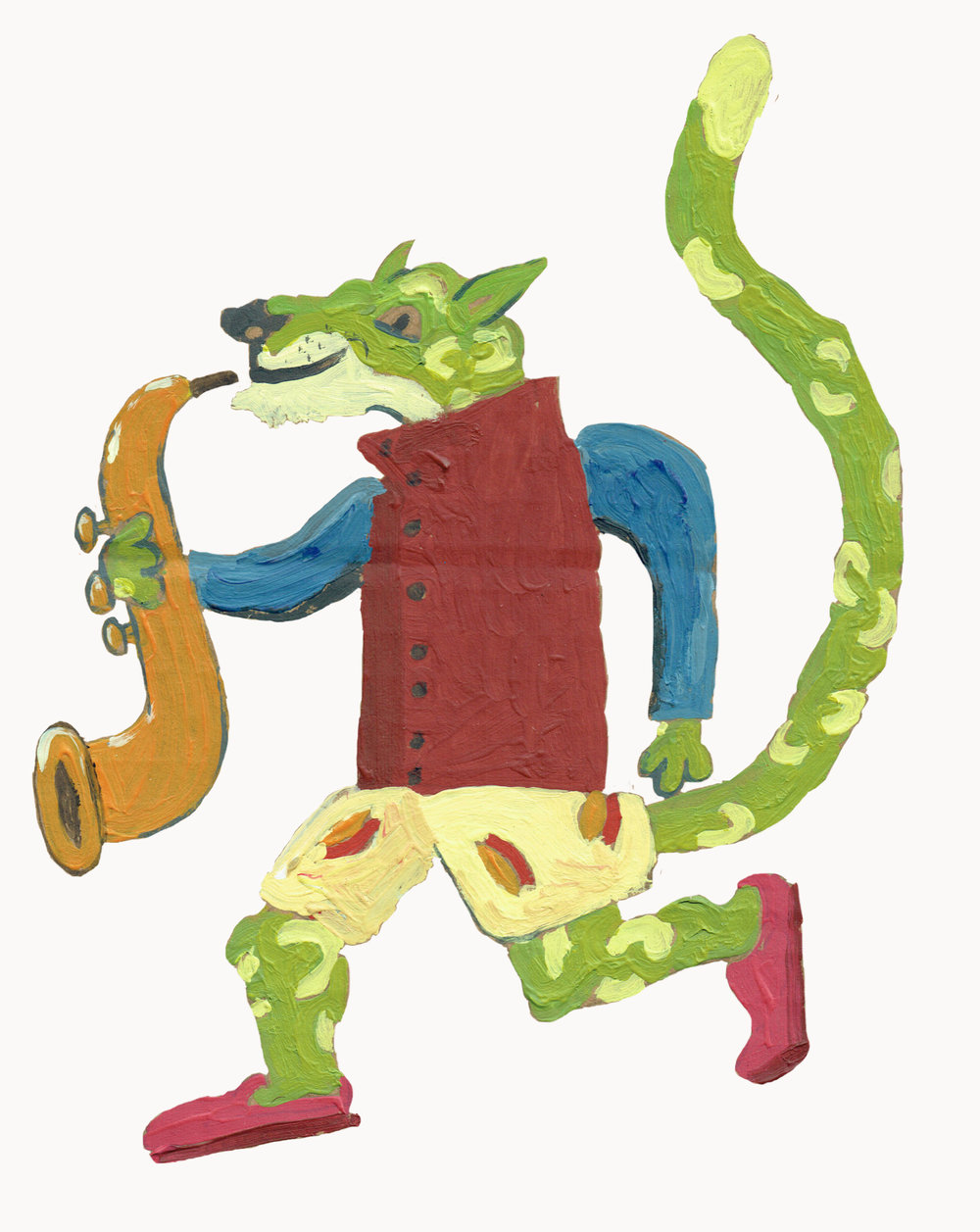 This one is actually dressed as me. I have the same shorts and red waistcoat. Also, when I painted this one I hesitated about using that lime green colour. But it turns out green fur suits jaguars.