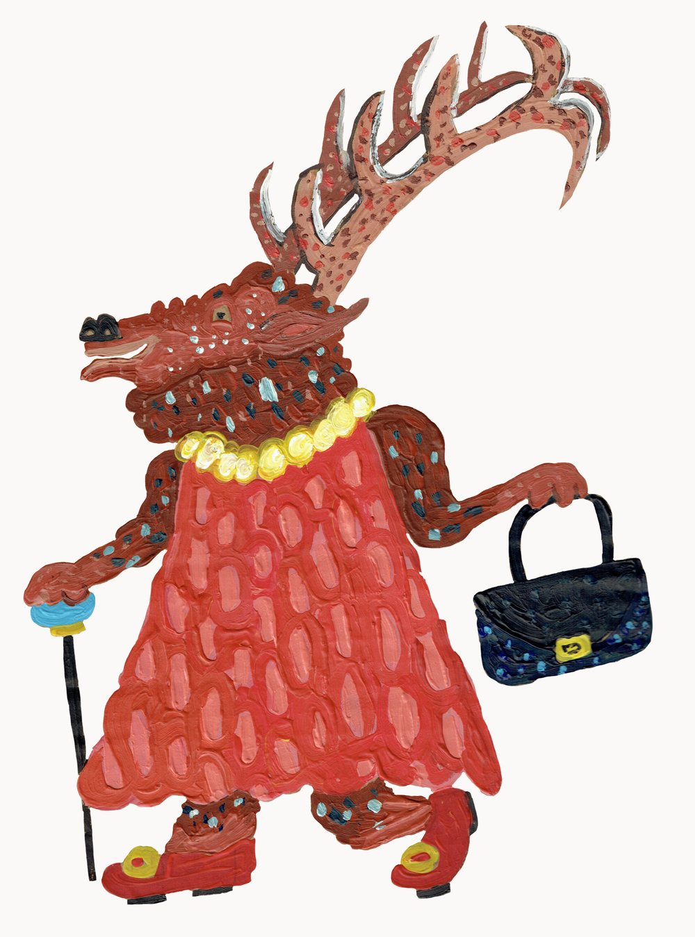 I painted this stag in a dress very quickly. You can tell because the paint is very blobby. It was the last one I made so there was a bit of surplus paint to use up.