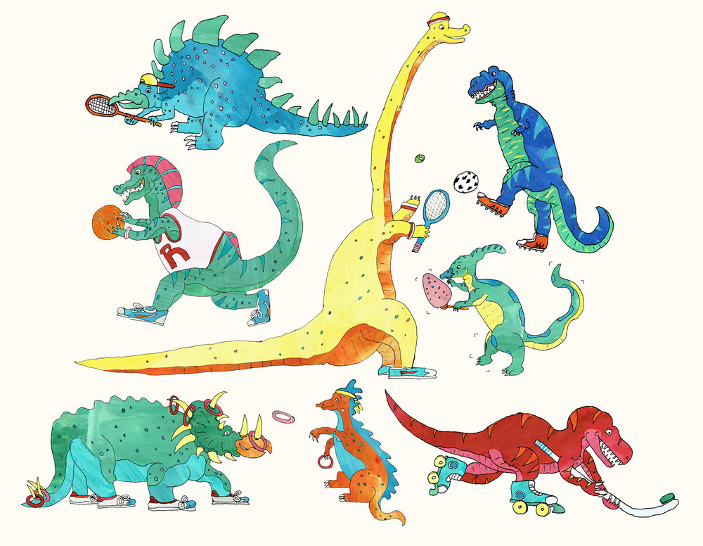 These are my Dinosaur Sports Day illustrations. When I was small I was always very good at the high-jump, and as a grown up I've never lost an egg and spoon race.