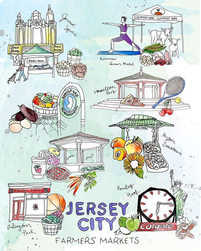 The Farmers, Markets of Jersey City. Who's got a favorite? . . Thanks @ediblejersey for the chance to do a feature illustration!