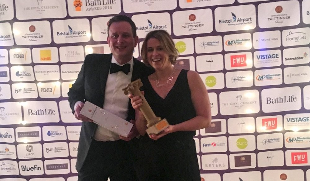 Tom Minor and Nicola Chilman with their Bath Life award