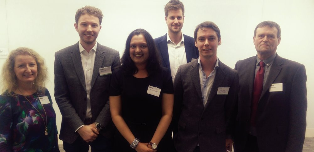 The finals of the Deloitte sponsored Business Plan Competition 2018: L - R, Siobain Hone, Graduate Enterprise Manager; Mike Stokes, Deloitte; Parimala Shivaprasad, Winner; Simon Bristow, Deloitte; Dave Kelly, Judge; Steve Egan, Vice-President (Implementation)