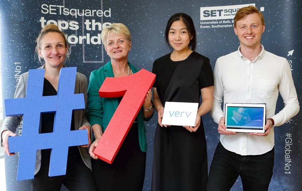 Pictured (L-R): Rosie Bennett - SETsquared Bath, Alison Evans - University of Bath, Yi Jean Chow - Verv, Scott Broadley - Verv