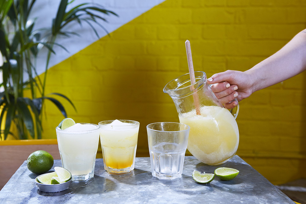 FROZEN MARGARITAS - 100% agave tequila with fresh lime juice and three flavours to choose from. Frozen and punchy.