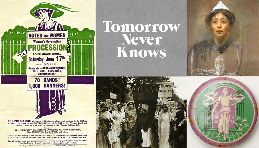 Image credits: Votes for Women Handbill, Women's Social and Political Union (1911) via  Museum of London  // Logo by  3Dperson  // Sylvia Pankhurst: Self Portrait in Prison Dress (ca 1907) // Tin badge by Sylvia Pankhurst // Indian suffragettes in London