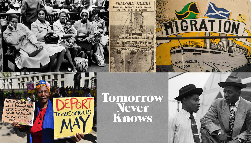 Image credits: Unknown //   Evening Standard 's front page 21 June 1948 (British Library)  //  Empire Windrush mural in Bristol  // Men on the Windrush //  Logo by @3Dperson  // Protest against the Home Office, 5 May 2018