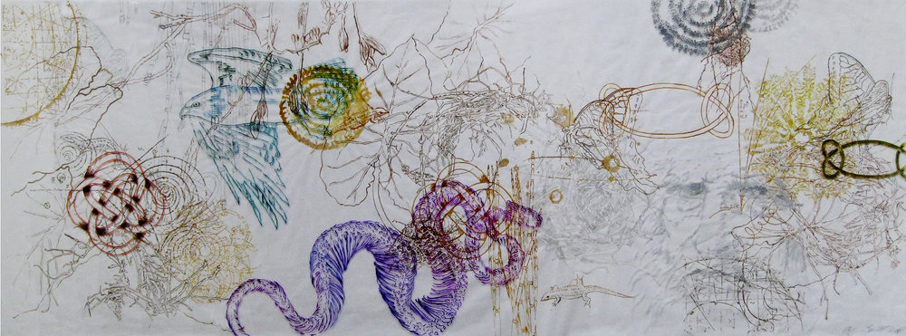 Leonardo's Dream, 2014, Acrylic Ink on Paper and Plexiglas, 18 x 48