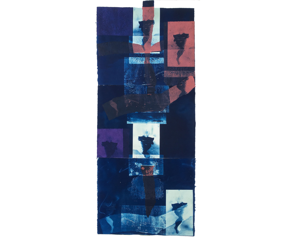 Pool Figures, 1997, Cyanotype. 50 X 23
