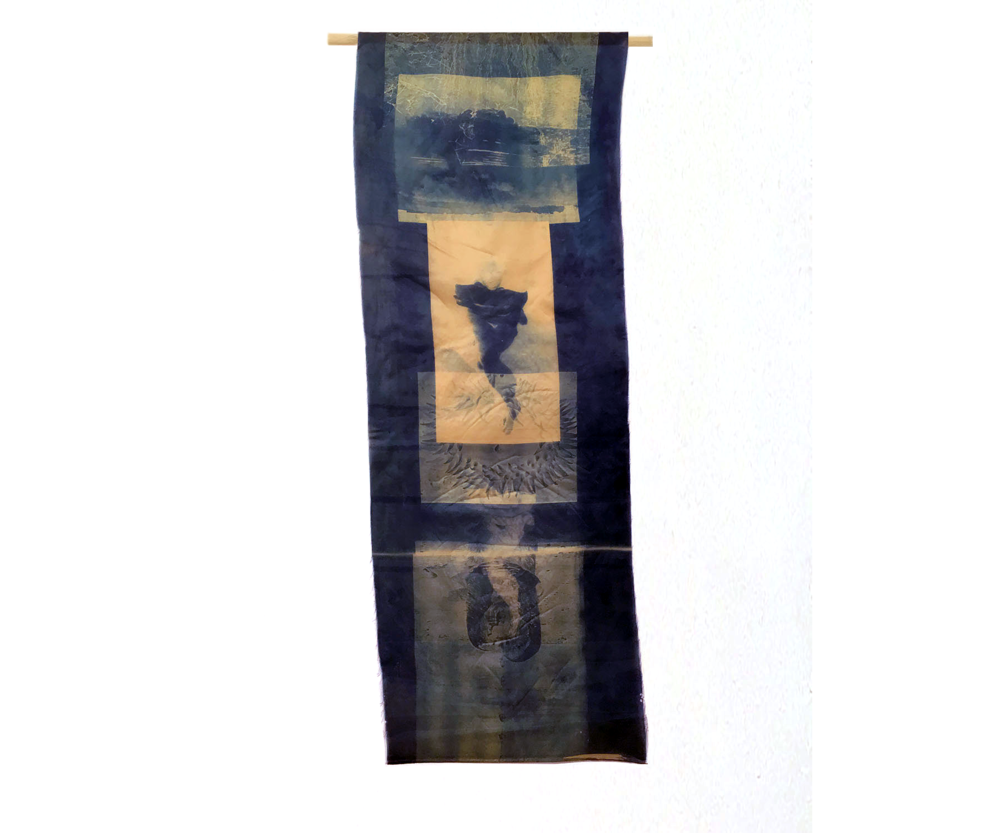Woman/Water II, 1996, Cyanotype on Silk, 12 x 35