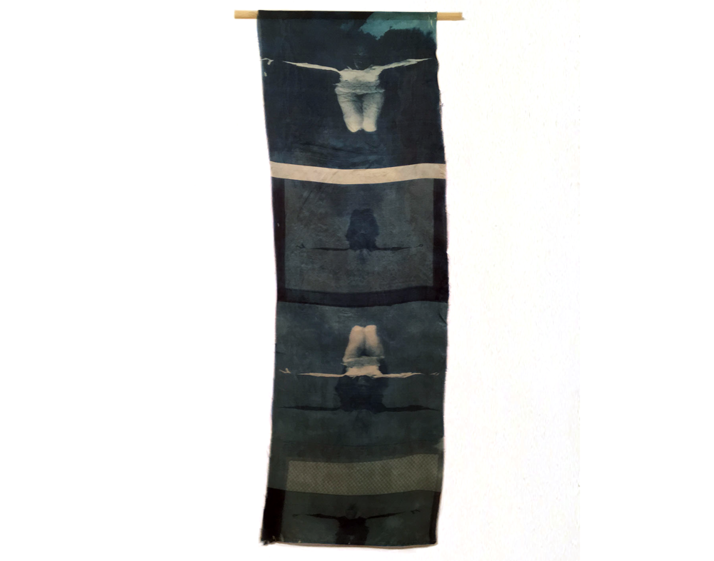 Woman/Water I, 1996, Cyanotype on Silk, 12 x 35