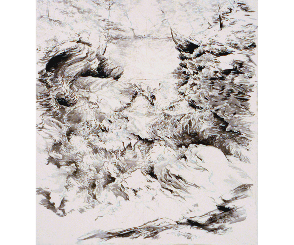 Looking Past the Top Ledge, Platte Clove Falls, 2004, Sumi ink on paper, 67 x 60