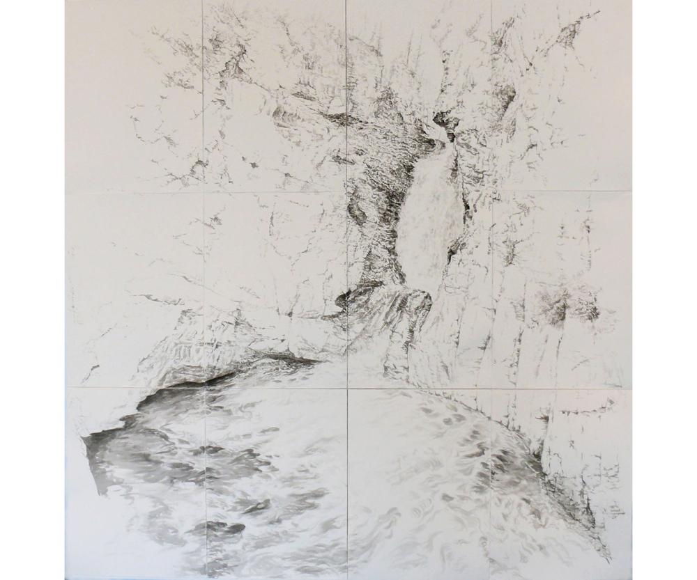 Johnson Canyon Falls, 2003, Sumi ink on paper, 82 x 80