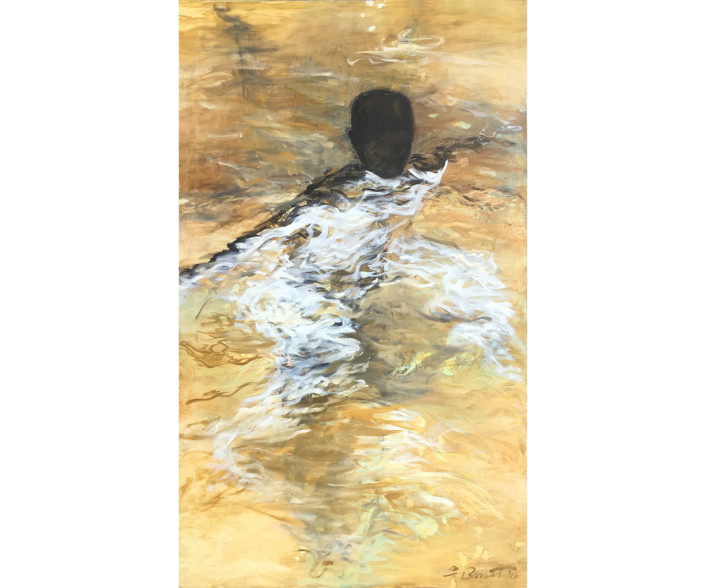 Pool Figure/Gold, 2001, Oil on canvas. 68 X 40