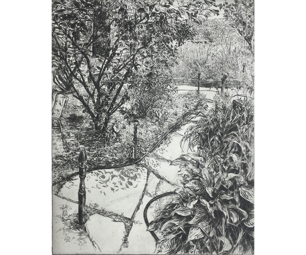 Backyard with Garden Hose, 2002, Etching, 20 x 16