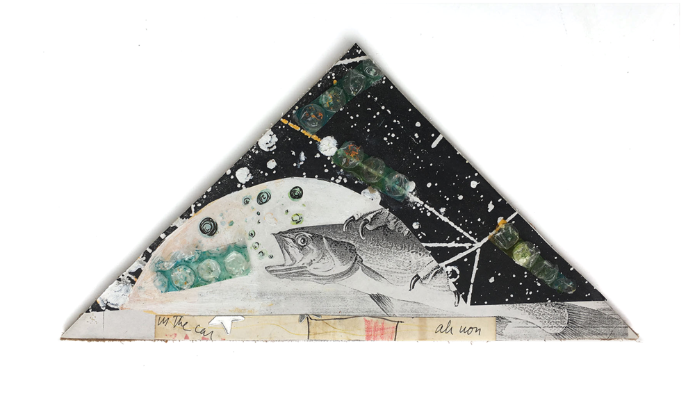 Triangle With Fish, 2015, Mixed Media, 5 ½ x 9