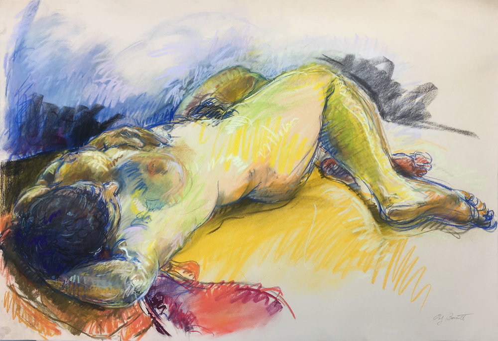 Reclining Figure with Red Cloth, Charcoal and Pastel, 30X44