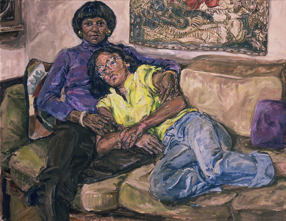 Margie and Amy, 1982,  Oil on Canvas, 52 x 56