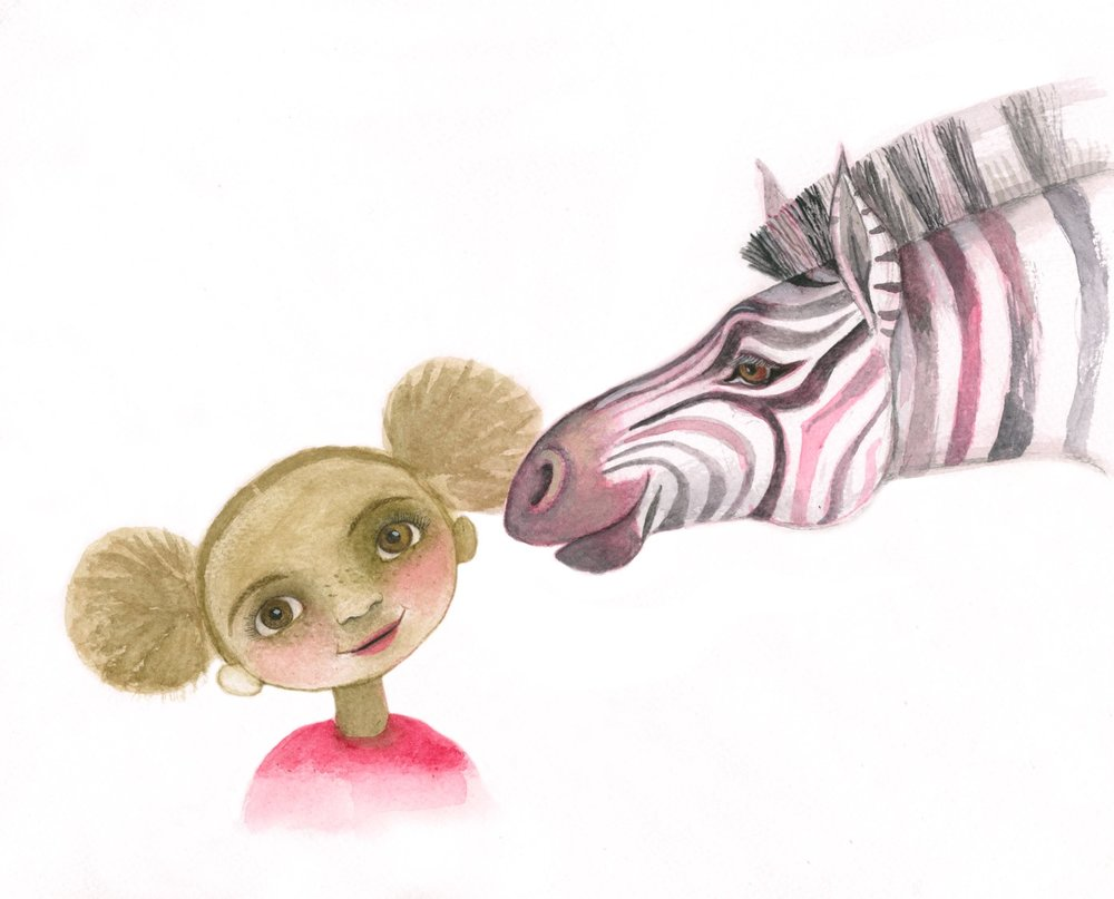 Malaika and Rafiki, her Guardian Angel (as a zebra)