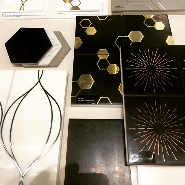 Hello Ellington !  The new Walker Zanger Ellington Collection boards have arrived in the showrooms. Copper, brass and stainless mixed with 4 stones - Carrara, Ebony Cinder and Cotton.#cwquinnhome #quinnhome #walkerzanger #tilelove #tiletuesday #tilefreak #interiors #interiordesign #artdeco #stonetile #palmspringdesign