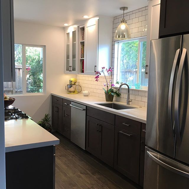 Kitchen from 2 years ago. Thanks for the new referral Emily and Sean. #quinnhome #walkerzanger #huntwoodcabinets #sanluisobispo #kitchenremodel #galleykitchen #shakercabinets #interiordesign #interiors