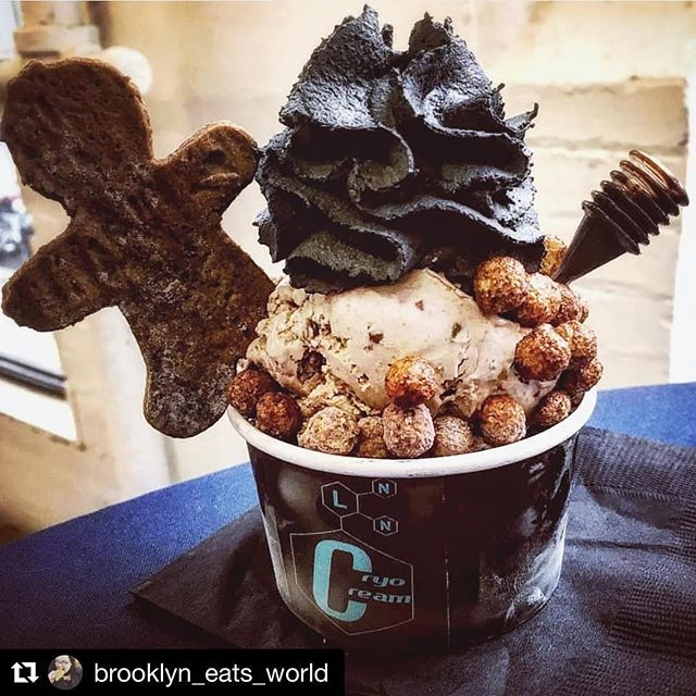 Happy Holidays to all of our foodie friends and fam‼️♥️🎁 Never stop eating 😋 #cryocream ・・・ 📷 @brooklyn_eats_world ⛄️ #repost ・・・ For when you've been a bad boy or girl - The Naughty List, from seasons past, made by @cryocream at @industrycity, with cryo bourbon pecan ice cream, cocoa puffs, and charcoal whipped cream.