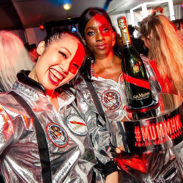 More champagne anyone? 🔥🥂🍾 #GHMumm #MummHK #champagne #party #cheers #drink #red #space #astronaut #girls #hot #red