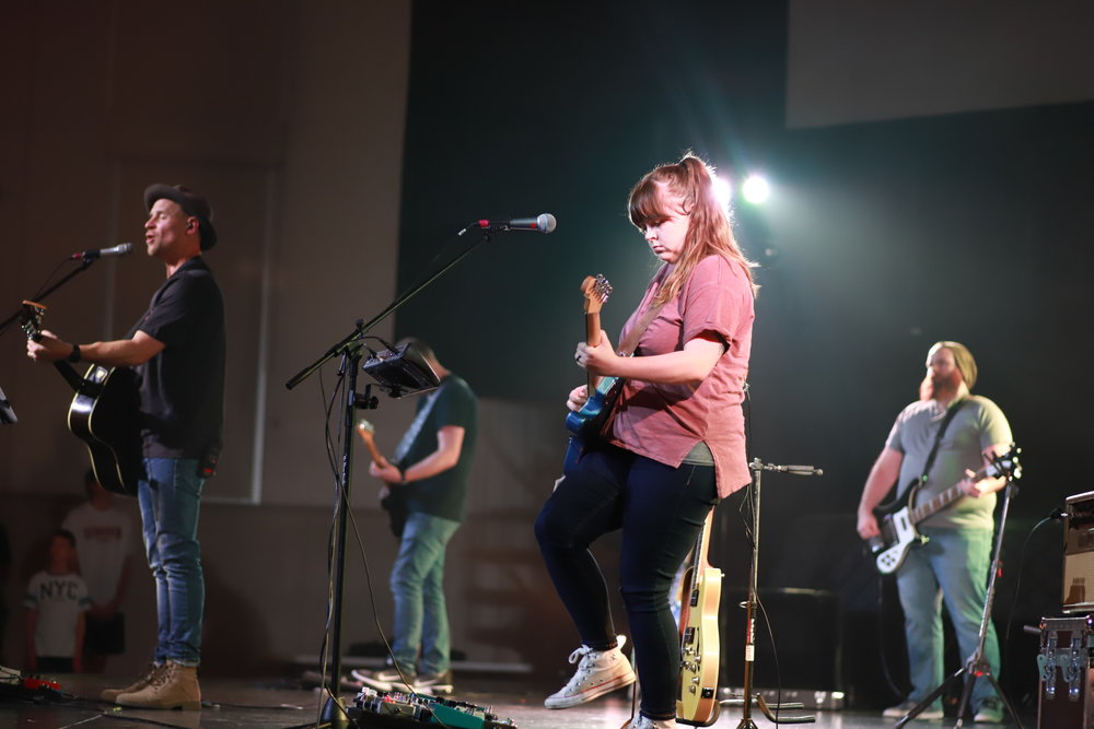Band Leading Worship on Friday Night