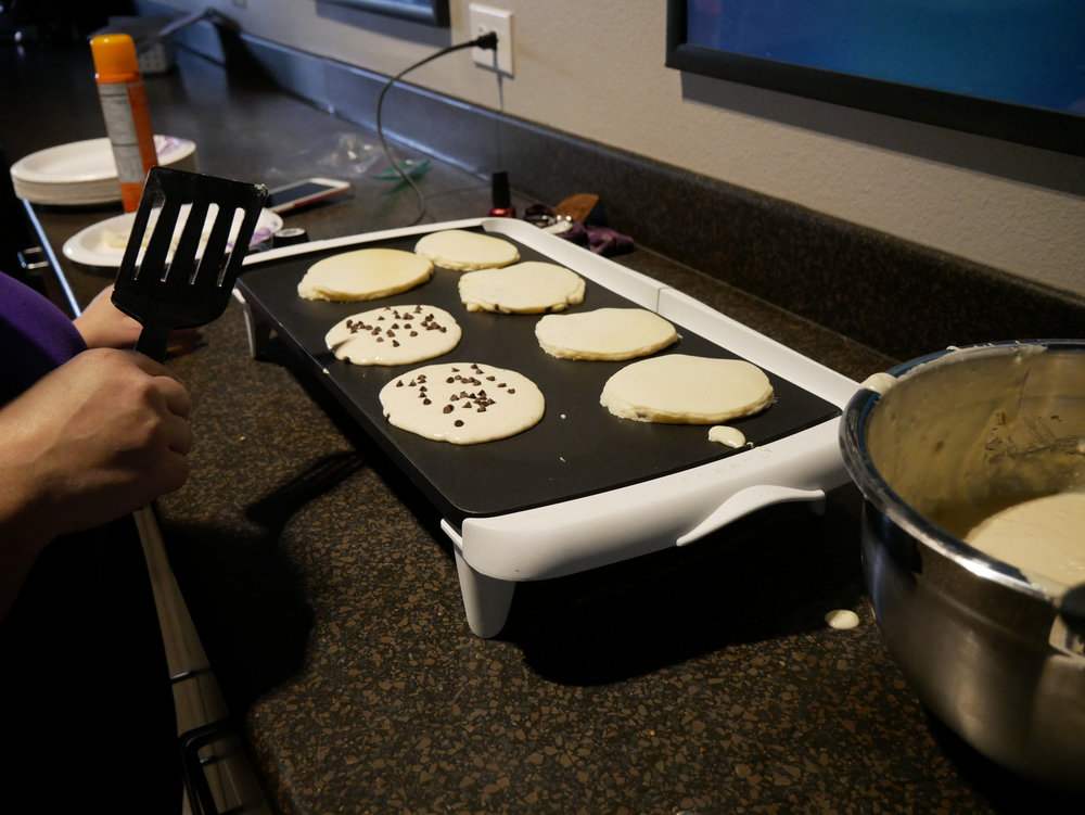 Leaders made chocolate chip pancakes for everyone for breakfast!