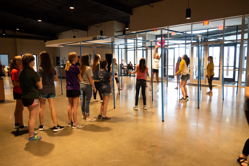Girls playing 9-square in the Vista Commons!