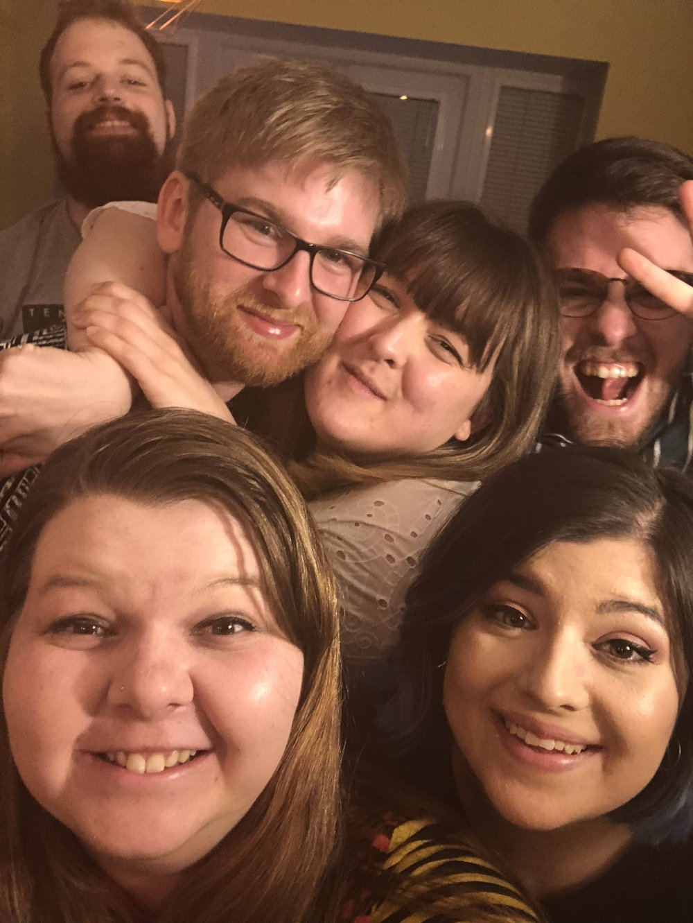 Sober me at the back. (everyone else is pretty drunk by this point).