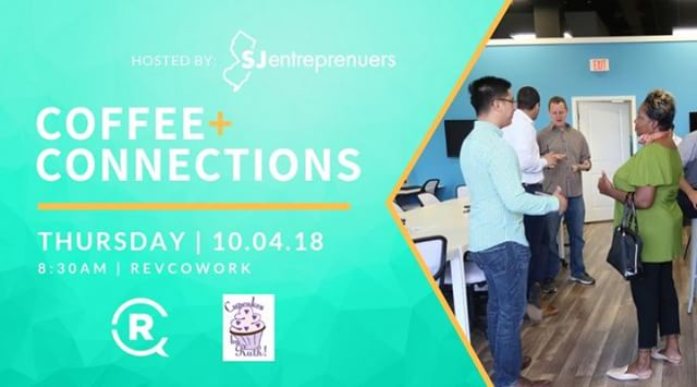 Don't forget about this Thursday's Coffee+Connections at RevCo, 8:30a. ☕️ . @sjentrepreneurs will be hosting this month's event while @cupcakesbyruth will be sponsoring C+C with her delicious cupcakes! . Tickets are in the bio. . Pre-Register: $10 | At the door: $15 . Hope to see you there! . . #RevCo #connectcollaboratecreate #networking