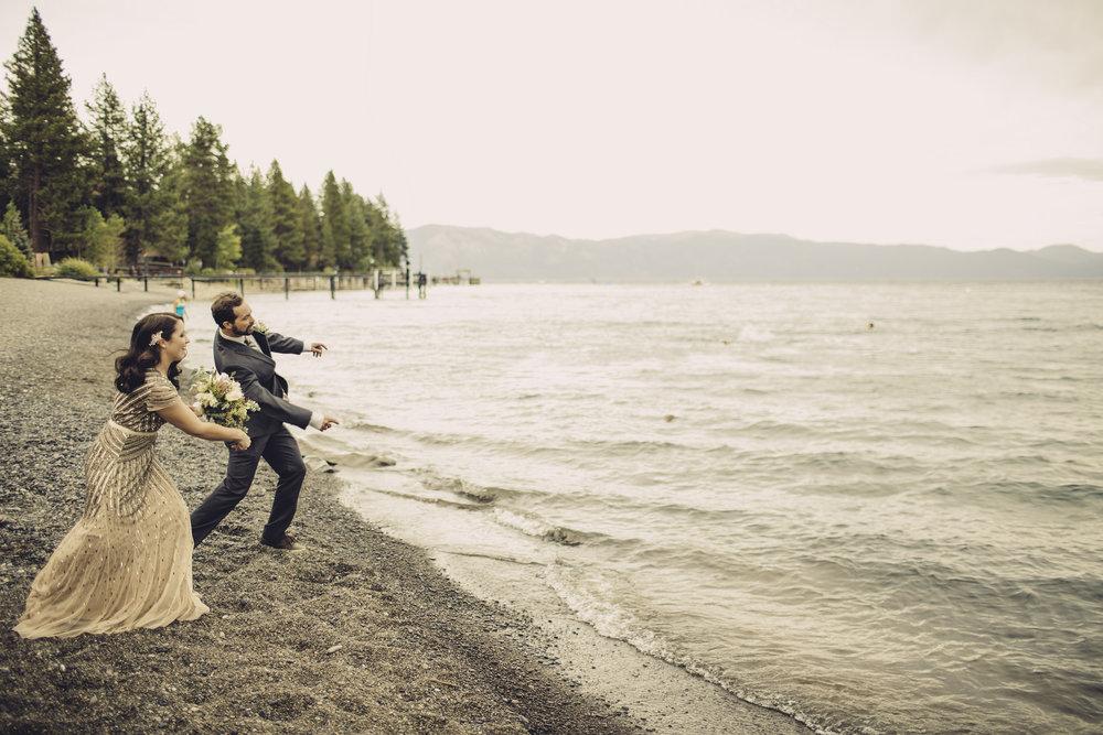 happy couple lake tahoe newlyweds beach wedding