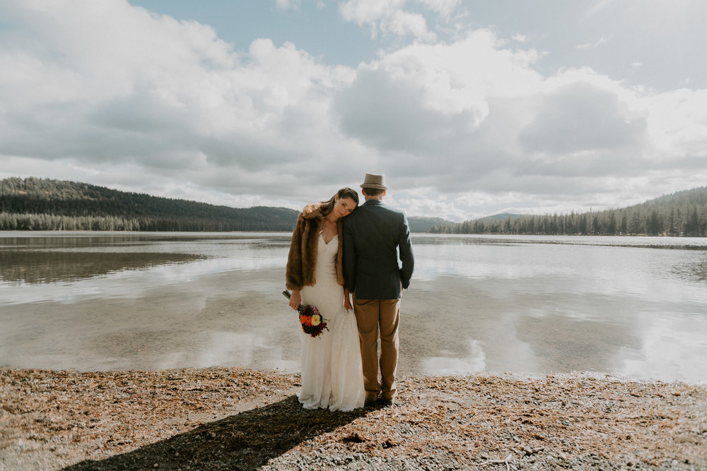 lake tahoe campground wedding love couple camping married sierras