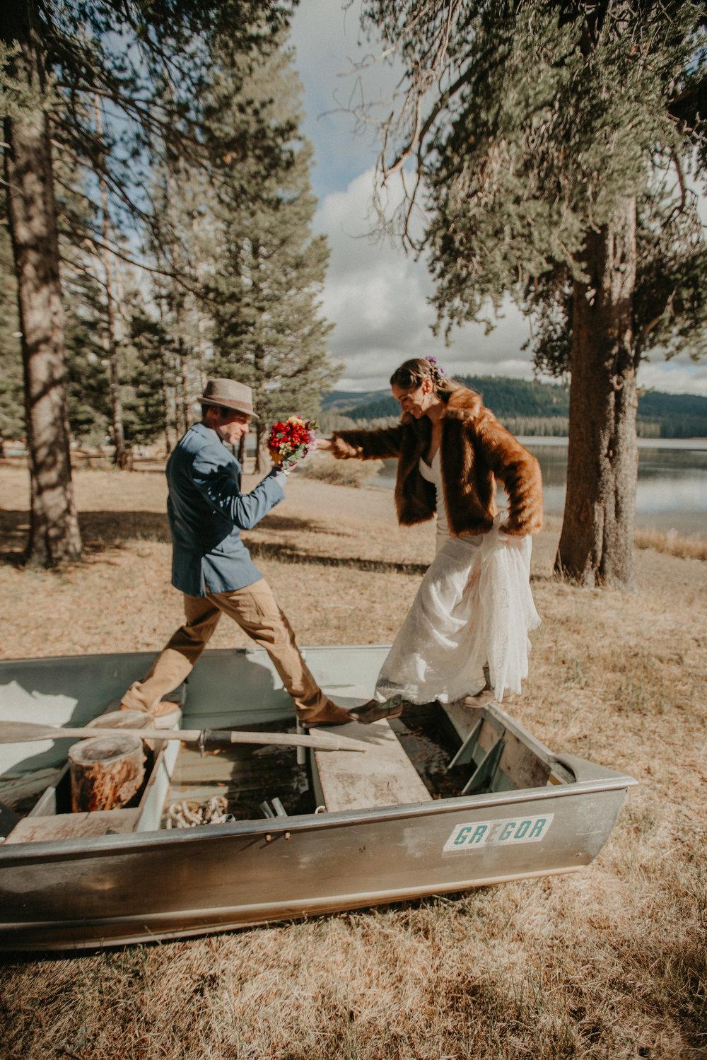 newlyweds lake tahoe canoe campground wedding planner