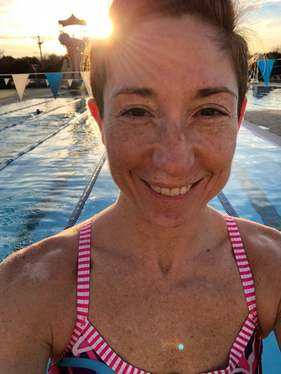 Sunset swim in the outdoor pool in January. Yes, please!