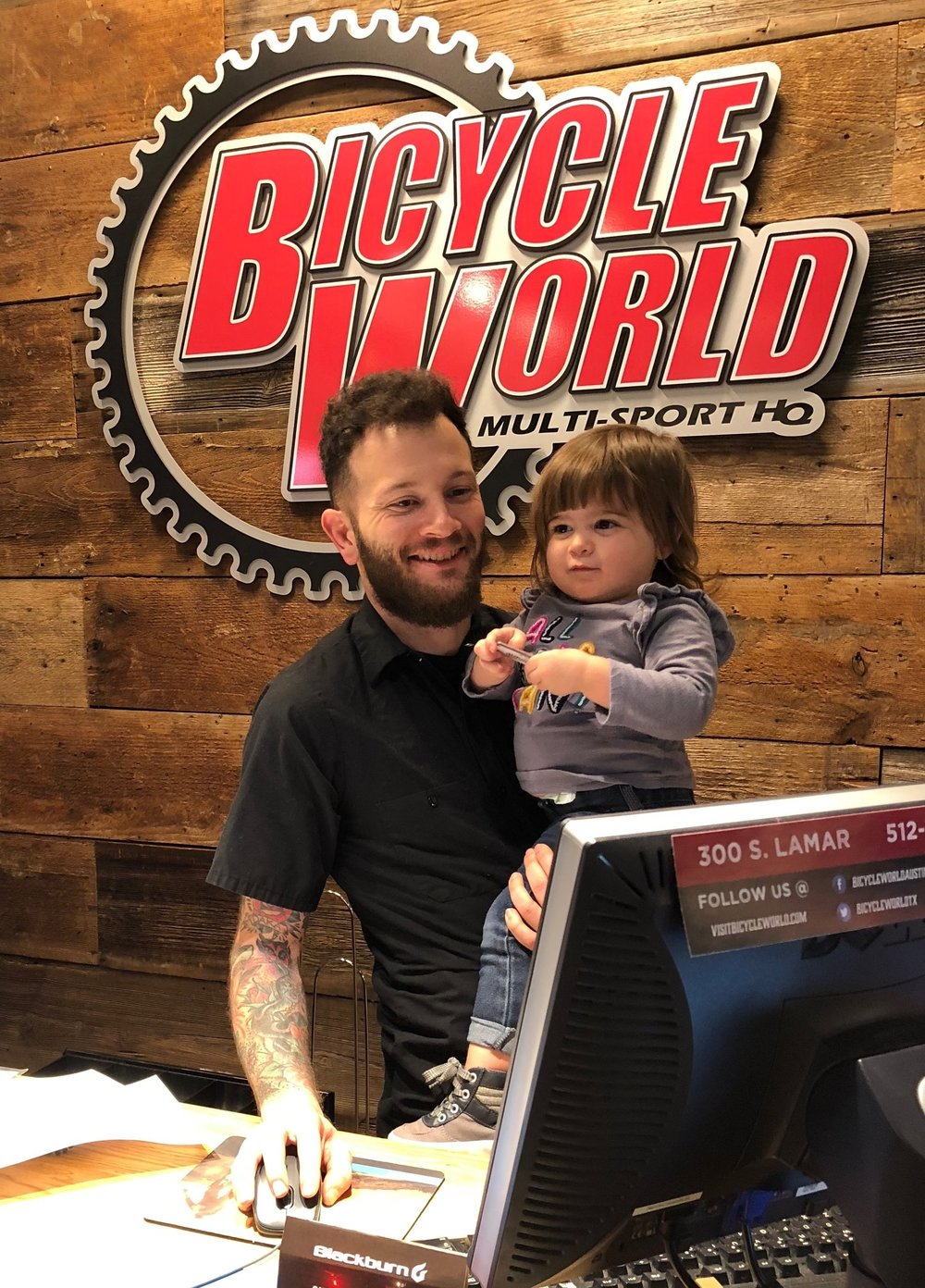 Adaline always has to hug Matt, the manager at Bicycle World Austin, every time we visit the store. Usually, there's also a fist bump.
