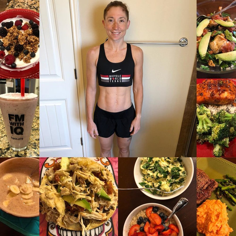 A sampling of what I ate and a photo of me at the end of the 30-day program.