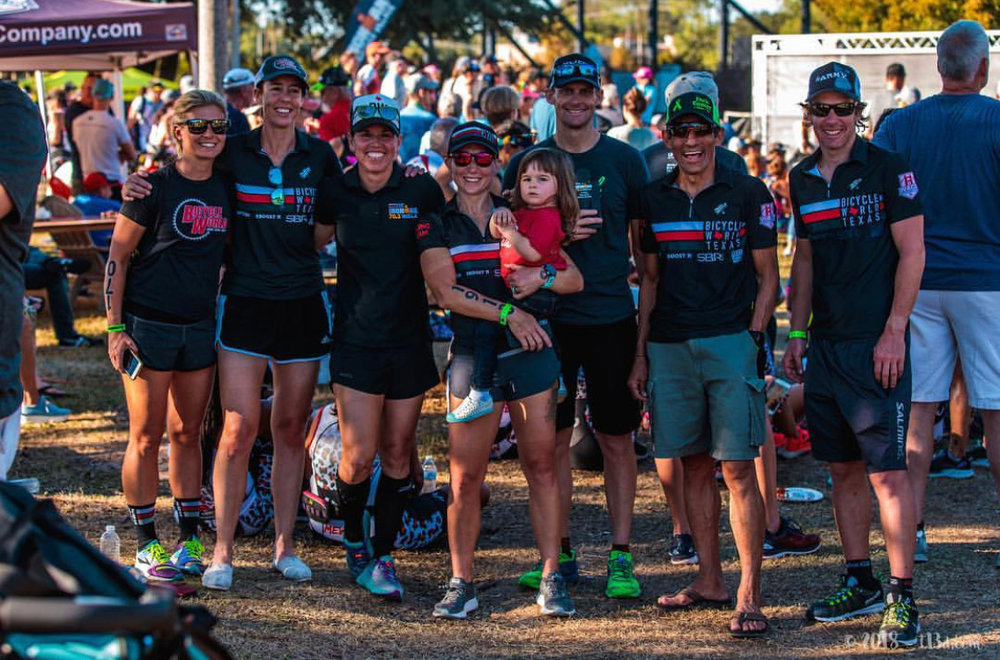 My Bicycle World Racing Team pals (left to right): Doreen Redenius, Kate Braybrook, Natasha Van Der Merwe, me and Adaline, Jason Redenius (honorary team member), Padre Mora, and my coach, Paul 'Barny' Matthews.