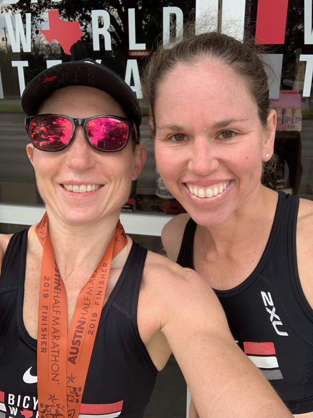 """Me and Natasha Van Der Merwe after the Austin Half Marathon on Sunday. It was sort of like a """"Moms Day Out,"""" only with sweat instead of wine. :)"""