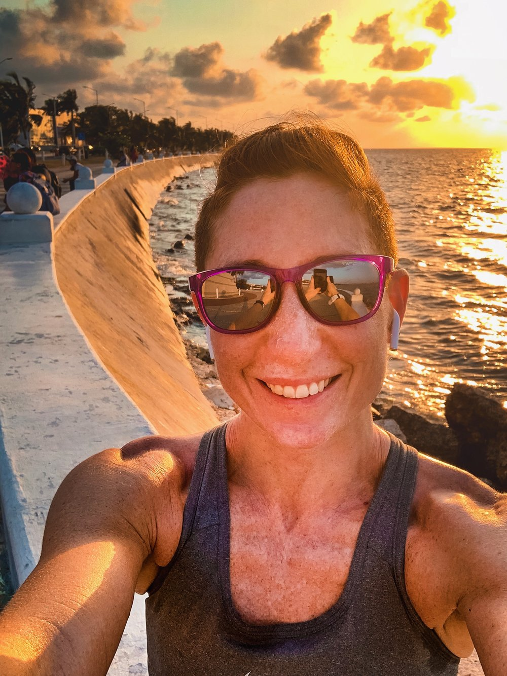 Me feeling all the feels during my Saturday sunset run in Campeche.