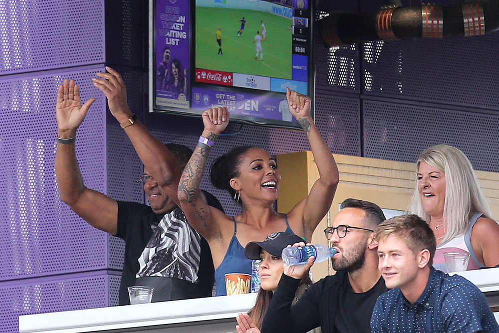 Sydney Leroux cheers as hubby Dom Dwyer does it again. SCORE!!!!!!!!!!!