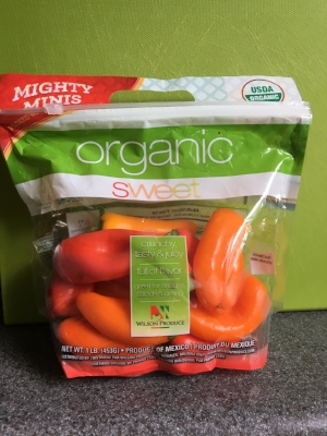 Organic mini sweet peppers at Aldi