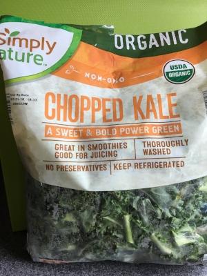 Organic chopped kale from Aldi