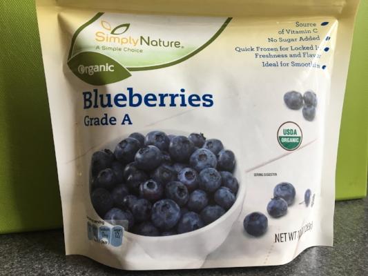 Organic frozen blueberries at Aldi