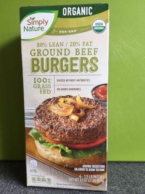 Grass-fed burgers at Aldi