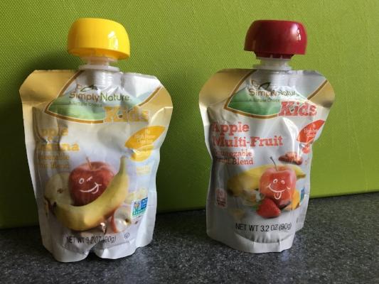 Kids' fruit pouches at Aldi