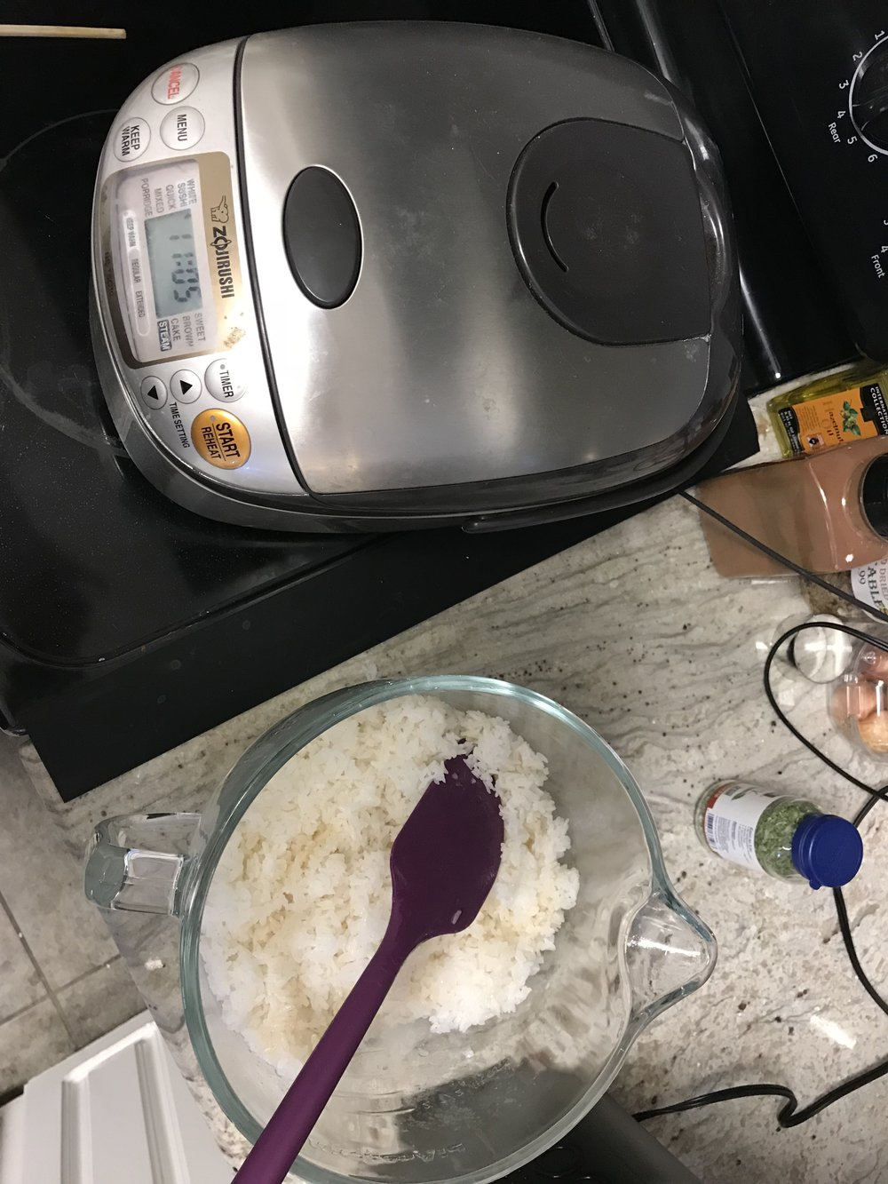 My rice cooker (which is my favorite appliance ever) and my rice, cooling.