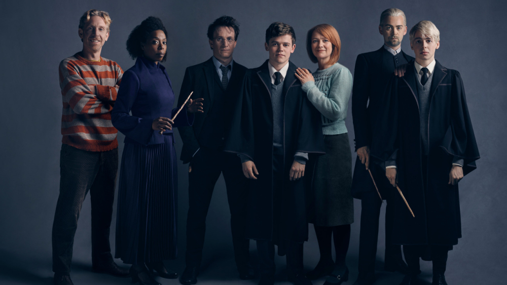 Paul Thornley as Ron, Noma Dumezweni as Hermione, Jamie Parker as Harry, Sam Clemmett as Albus, Poppy Miller as Ginny, Alex Price as Draco, and Anthony Boyle as Scorpius